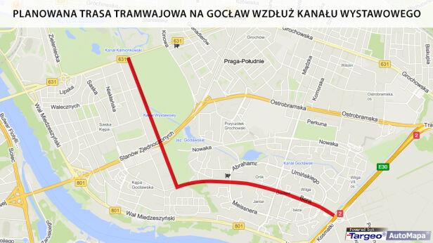 Planowana trasa tramwajowa na Gocław