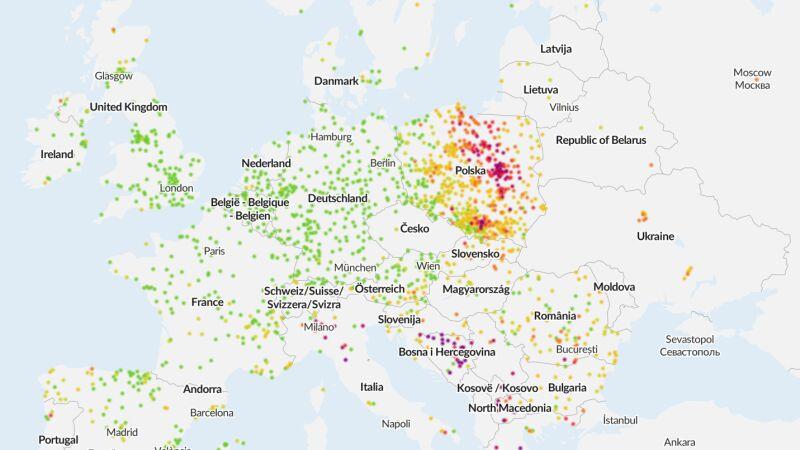 Smog w Europie (airly.org/map/pl/)