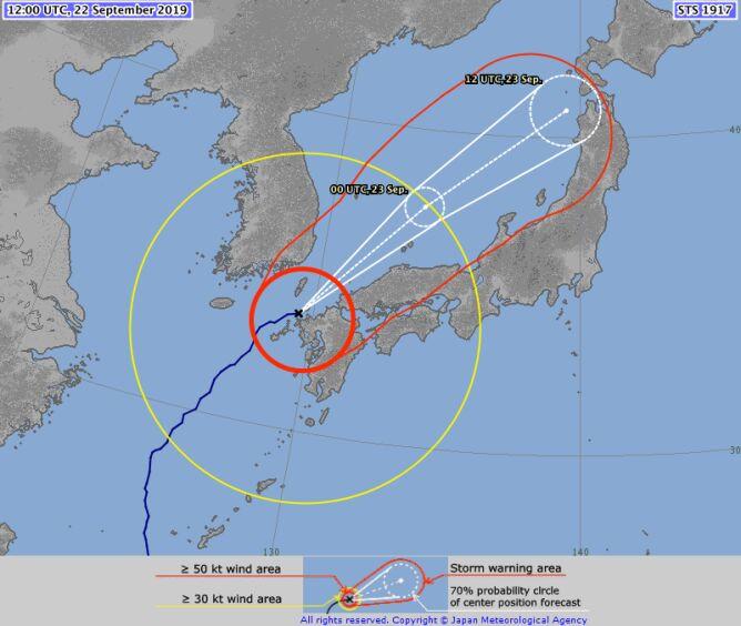 Prognozowana trasa tajfunu Tapa (jma.go.jp)
