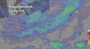 Opady deszczu w ciągu kolejnych pięciu dniu (Ventusky.com   wideo bez dźwięku)